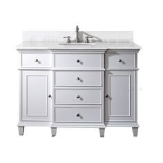Windsor 48 Inch Vanity with Carrera White Marble Top And Sink in White Finish (Faucet not included)