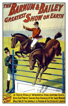 Barnum & Bailey Circus - Equestrian Horse Jumping - Digitally Remastered Vintage Fine Art Print / Poster on Etsy, $14.99