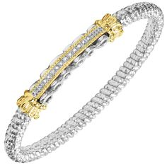 Sterling silver and 14 karat yellow gold Diamond bangle bracelet Bangle Bracelets, Bangles, Diamond Bangle, Kansas City, Custom Design, Fine Jewelry, Glitter, Engagement Rings, Sterling Silver