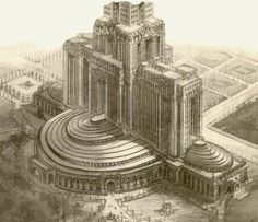 Towers of Utopia proposed for Rome, architect Mario Palanti