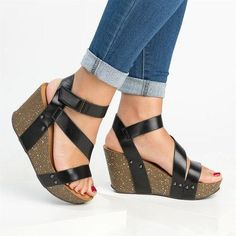 2cb611eb932f Newest Plus Size Peep Toe Adjustable Buckle Wedge Sandals – Mollyca