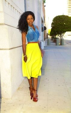 Women's Blue Denim Vest, Yellow Midi Skirt, Burgundy Leather Heeled Sandals, Gold Watch