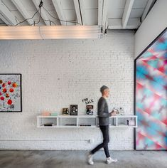 Everybody, Get Happy: Happy Bones Café's First Permanent Digs Nyc Coffee Shop, Small Coffee Shop, Coffee Shops, Coffee Shop Interior Design, Coffee Shop Design, Cafe Design, Interior Design Magazine, Happy Bones Nyc, Painted Brick Walls