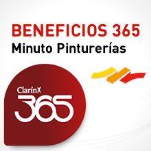 25% de descuento para clientes Clarín 365  Desde el 2013 podés obtener con la tarjeta Clarín 365, un 25% de descuento en cualquiera de los locales de la cadena Minuto Pinturerias.  Este beneficio se puede hacer efectivo en cualquier día de la semana.  http://minutopinturerias.com/promociones.php?promocion=2