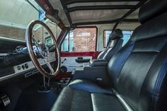"""Interior of our latest 1972 Classic Ford Bronco restoration - Coyote 5.0 engine Overdrive Transmission Wilwood Disc Brakes Vintage Air Conditioning 2 1/2"""" Suspension lift with 33x1250x15 BF Goodrich tires. #coyote #coyoteswap #wilwood #vintageair #bfgoodrich #classicfordbronco #classicbronco #earlybronco #vintagebronco #earlyfordbroncos #fordbronco #ford #bronco #fordsofinstagram #earlybroncodrivers #fordtruck #fordracing #4x4 #shoplife #broncolife #broncosport #Pensacola…"""