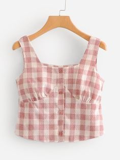 To find out about the Check Plaid Button Front Crop Top at SHEIN, part of our latest Tank Tops & Camis ready to shop online today! Stylish Dress Designs, Stylish Dresses, Trendy Outfits, Denim Crop Top, Crop Tops, Girls Fashion Clothes, Fashion Outfits, Zara Fashion, Shirt Refashion