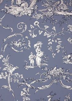 Paysannerie Toile Wallpaper from Thibaut. A scenic toile wallpaper with farm workers, pheasants, stags and dogs amongst swirling foliage in wedgwood blue. Toile Wallpaper, Custom Wallpaper, Designer Wallpaper, Hallway Wallpaper, French Fabric, Decorate Your Room, Wedgwood, Chinoiserie, Decoration