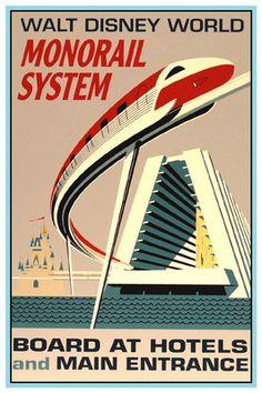 Vintage Disney Collector's Poster 12x18 Disney World Monorail | eBay