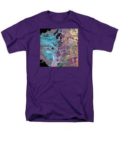 Original Dynamic Colorful Dramatic Compelling Abstract Organic Vibrant Contemporary Fluid Art Men's T-Shirt (Regular Fit) featuring the painting #1150 Gold N Blue by Expressionistart studio Priscilla Batzell