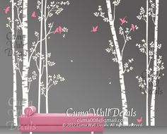 tree wall decal birds nature forest Vinyl wall decals wall decal nursery wall sticker children - 7tree birds deers Z147 Cuma