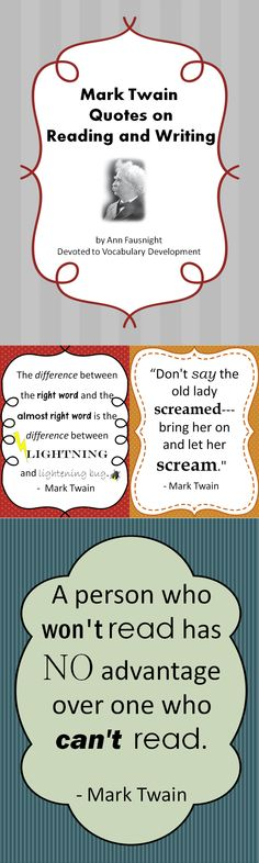 Mark Twain Quotes on Reading and Writing-free! Reading Quotes, Writing Quotes, Me Quotes, Funny Quotes, Mark Twain Quotes, Writer Workshop, Teaching English, Creative Writing, Quotations