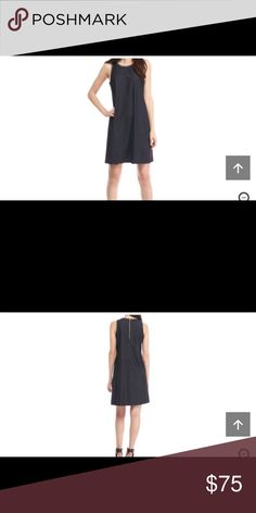 Calvin Klein A-Line Sleeveless Dress Approximately 36-in. L Zip closure Round neck Sleeveless Polyester Dry clean only Imported Calvin Klein Dresses