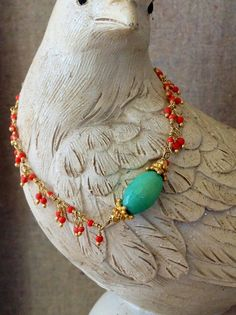 Wire Wrapped Bracelet with Mini Coral Dangles, Green Chrysoprase and Vermeil Bali Bead Caps on Etsy, $72.00