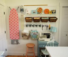 How to Install a Giant Pegboard perfect storage idea for a craft room at thehappyhousie.com-16