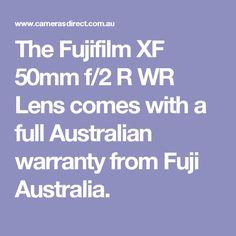 The FujifilmXF 50mm f/2 R WR Lens comes with a full Australian warranty from Fuji Australia.