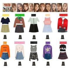 A fashion look from April 2017 featuring purple top, red top and cropped sweatshirt. Browse and shop related looks. Band Outfits, Stage Outfits, Girl Outfits, Cute Outfits, Kpop Fashion Outfits, Korean Outfits, Retro Outfits, Kpop Costume, Pop Clothing