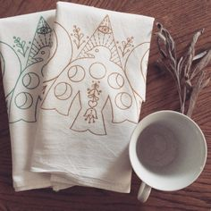 Moon and Spirit Tea Towel Set by Lolley on Etsy