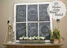 diy window ledge rope shelf, chalkboard paint, diy, home decor, repurposing upcycling, wall decor