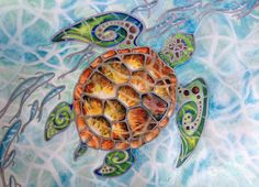 """Tropical Tribal Sea Turtle Art """"Honu Island Waters"""" with silvery fish 8""""x10"""" Print Matted 11""""x14"""" Exotic Hawaii Ocean Christie MarieArt"""