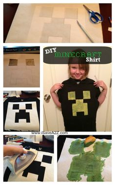 DIY Minecraft Creeper Shirt Tutorial with free printable template!