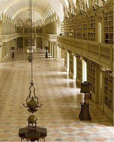 Palácio Nacional de Mafra - Library The most beautiful in the world by the US portal Book Riot. www.portulogia.com #Library #Portugal