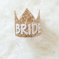 Bachelorette BRIDE Crown in Gold and White by Kutiebowtuties