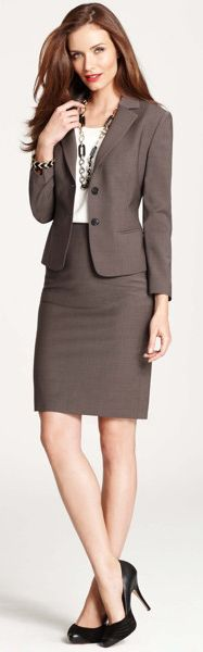 Ann Taylor, work wear, brown skirt suit, two button skirt suit, interview attire