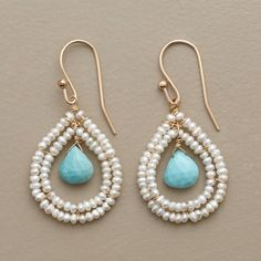 """BLUE BRIOLETTE EARRINGS -- In these turquoise and pearl hoop earrings, turquoise briolette beads dangle from seed pearl teardrops hung on 14kt goldfill. French wires. 1-1/2""""L."""
