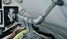 clothing rack in the ceiling. A touch of Luxe: DIY clothing rack in the ceiling.(Diy Apartment Curtains)A touch of Luxe: DIY clothing rack in the ceiling. Diy Clothes Rack, Clothes Rail, Clothes Storage, Club Clothes, Loft Clothes, Clothes Hooks, Wardrobe Storage, Attic Closet, Master Closet