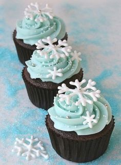 A light blue frosting, you can buy snowflakes or draw them yourself with white icing onto baking paper when dry, remove and put on top of cupcakes and you have christmas/winter cupcakes