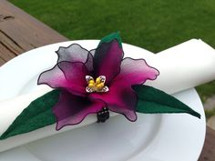 Black and Fuchsia pink napkin ring,nylon flowers, wedding favors/ mother's day, place card holder