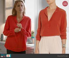Elizabeth s red long sleeved blouse on Madam Secretary 01cfbe614