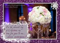 On the eleventh day of #Christmas my true love gave to me...  ELEVEN centerpieces! #CreativeWeddings #CreativeWeddingsChristmas #12DaysOfChristmas #YYCWeddingPlanner #BanffWeddingPlanner (Photo: #KimPayantPhotography)