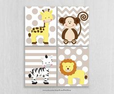 CANVAS Safari Nursery Wall Art Prints Set of 4 by EvansPrintShop