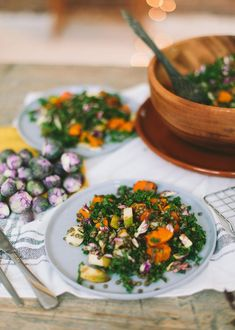 Salade met paarse spruitjes en peer →