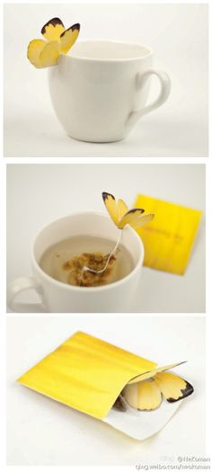 Yellow butterfly tea bag designer Yena Lee design evolution from the appearance of the packaging of tea, to attract the attention of consumers.