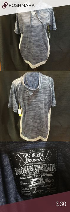 NWT Broken Threads Navy and Gray Hooded Shirt NWT Broken Threads Navy and Gray Hooded Short Sleeve Shirt. Broken Threads Shirts