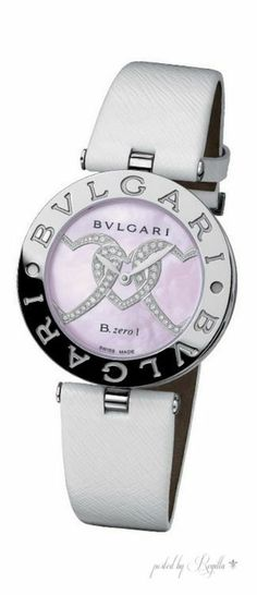BVLGARI - Steel Ladies watch with pink Mother-of-Pearl, heart motif set with Diamonds, Leather strap, Quartz movement. Bvlgari Watches, Luxury Watches, Casual Watches, Cool Watches, Fancy Watches, Ladies Watches, Audemars Piguet, Beautiful Watches, Fashion Watches