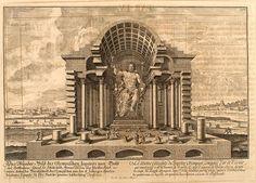 Erlach. 002- Estatua del coloso de Jupiter Olimpico-Entwurf einer historischen Architektur 1721- © Universitätsbibliothek Heidelberg