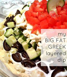 My BIG FAT GREEK Layered Dip with hummus, artichokes, olives, feta ...