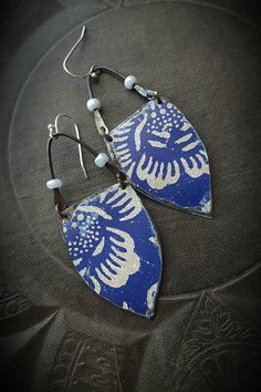 hand cut vintage tin shields hammered curves of blackened wire with pastel blue pearl glass seed beads sterling silver ear wires  •super light •one of a kind •100% ARTISAN HANDMADE •Yucca Bloom Original- these cannot be duplicated
