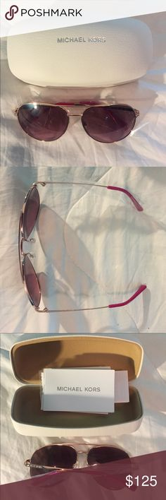 Michael Kors Sunglasses Aviator sunglasses with pink tint. Rose gold frame with pink at the ends. Never wore them, brand new Michael Kors Accessories Glasses