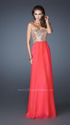{La Femme 18708 | La Femme Fashion 2013} - La Femme Prom Dresses - Strapless - Sequin Top - Strappy Back - Flowy - Long Prom - Homecoming - Pageant