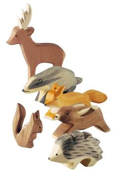 Six of our favourite forest animals. Male deer, badger, fox, rabbit, squirrel and hedgehog. Save 10% Ostheimer are today unique in the way that they make their beautiful wooden figures. Each template is transferred to the wood and sawn out by hand. Each figure is then given its characteristic Ostheimer carving, then sanded, hand painted and finally dipped in walnut oil. At each stage of the process the human hand is present and in control. made in: Germany made of: maple wood
