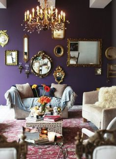 Maison dark purple living room, benjamin moore shadow More How To Buy A Persian Rug A Persian rug is Benjamin Moore Shadow, Benjamin Moore Purple, Color Of The Year 2017, Room Wall Colors, Wall Colours, Bedroom Colors, Accent Colors, Paint Colors, Gold Rooms