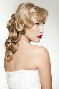 Bride's hair.... 1920's curls...