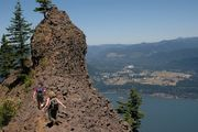 The best view in Oregon is Indian Point, a 20-foot high basalt outcrop perched on the rim just east of Cascade Locks in Hood River County. It gives a good look at the Columbia River below, Dog Mountain across the river and Mount Adams in the distance.
