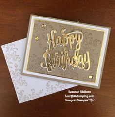 Stampin Up Timeless Textures and Happy Birthday Die Birthday Card - Rosanne Mulhern