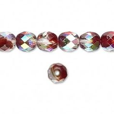 Bead, Czech fire-polished glass, two-tone, crystal/brown-red AB, 8mm faceted round. Sold per 16-inch strand.
