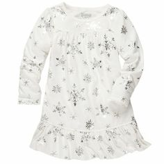 b3743384c762 Ivory and silver snowflake pajamas. Jersey Nightgown Christmas Snowflakes